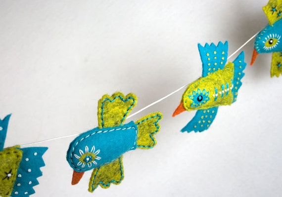 Handstiched Felt Bird Garland Bunting, lime and turquoise