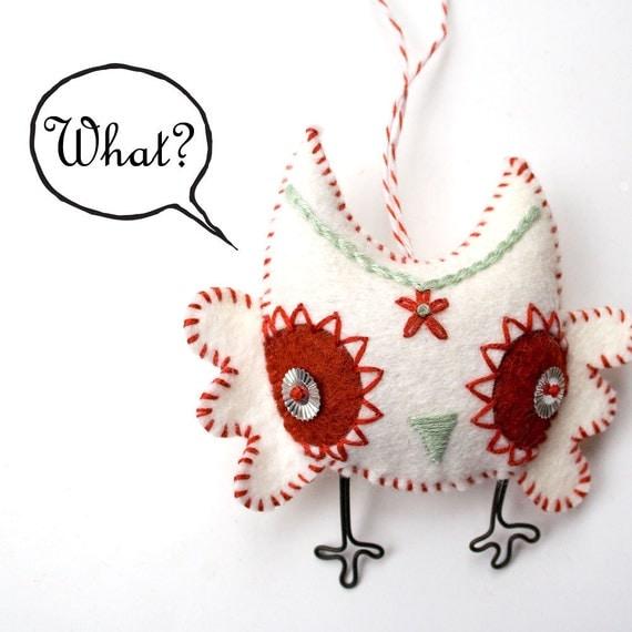 Handstiched Felt Owl Ornament - plush owl - hand embroidered owl Christmas ornament - woodland owl felt ornament