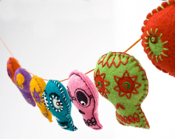Sugar Skull Folk Art felt Garland colorful