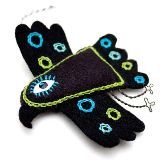 Mexican Folk Art Felt Raven ornament handstiched