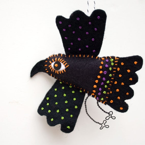 Folk Art Crow Ornament, Mexican folk art embroidered felt raven