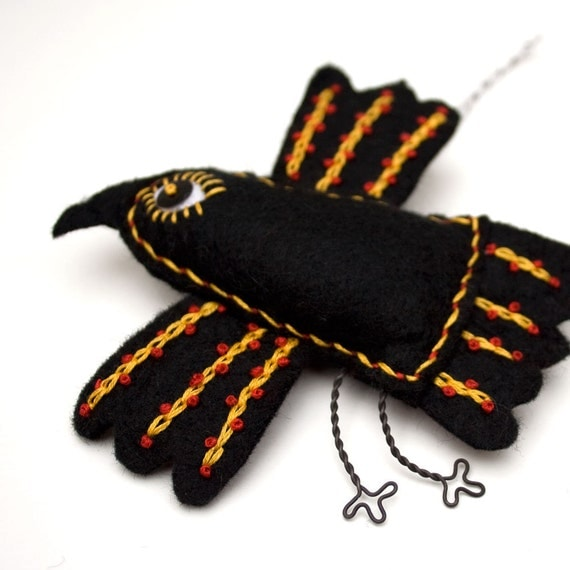 Folk Art Raven ornament, Mexican folk art embroidered felt crow