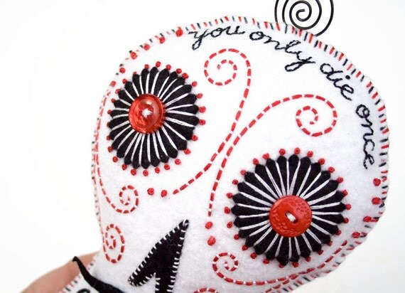 Sugar Skull Plush Pillow, Mexican folk art, felt and wire, black and white hand embroidered