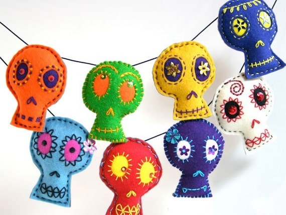 Large Bright Colored Skull Garland