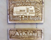 Personalized Family Childs Name Custom Camp Camper RV Carved Wood Sign Plaque Cabin Lake Est Date Wood