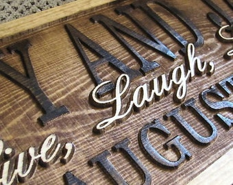 Personalized Sign Custom Carved Wood Wedding Gift Family Last Name Est Couples