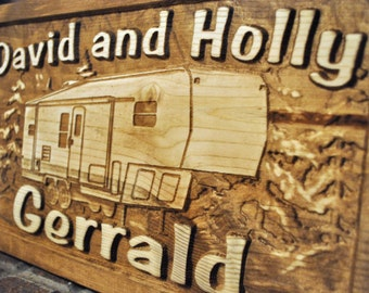 5th wheel Camp Camper RV Motorhome Carved Wood Sign Personalized Family Name Custom Plaque Cabin Established Family Name Wooden Hunting Fish