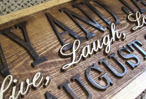 Personalized couples name signs carved custom wooden sign last