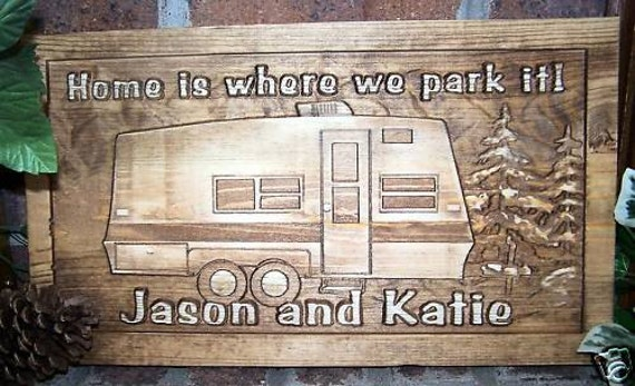 Camp Camper RV Motorhome Carved Wood Sign Personalized Family Name Sign Custom Plaque Cabin Established Family Name Wooden Pop-up Hunt Fish