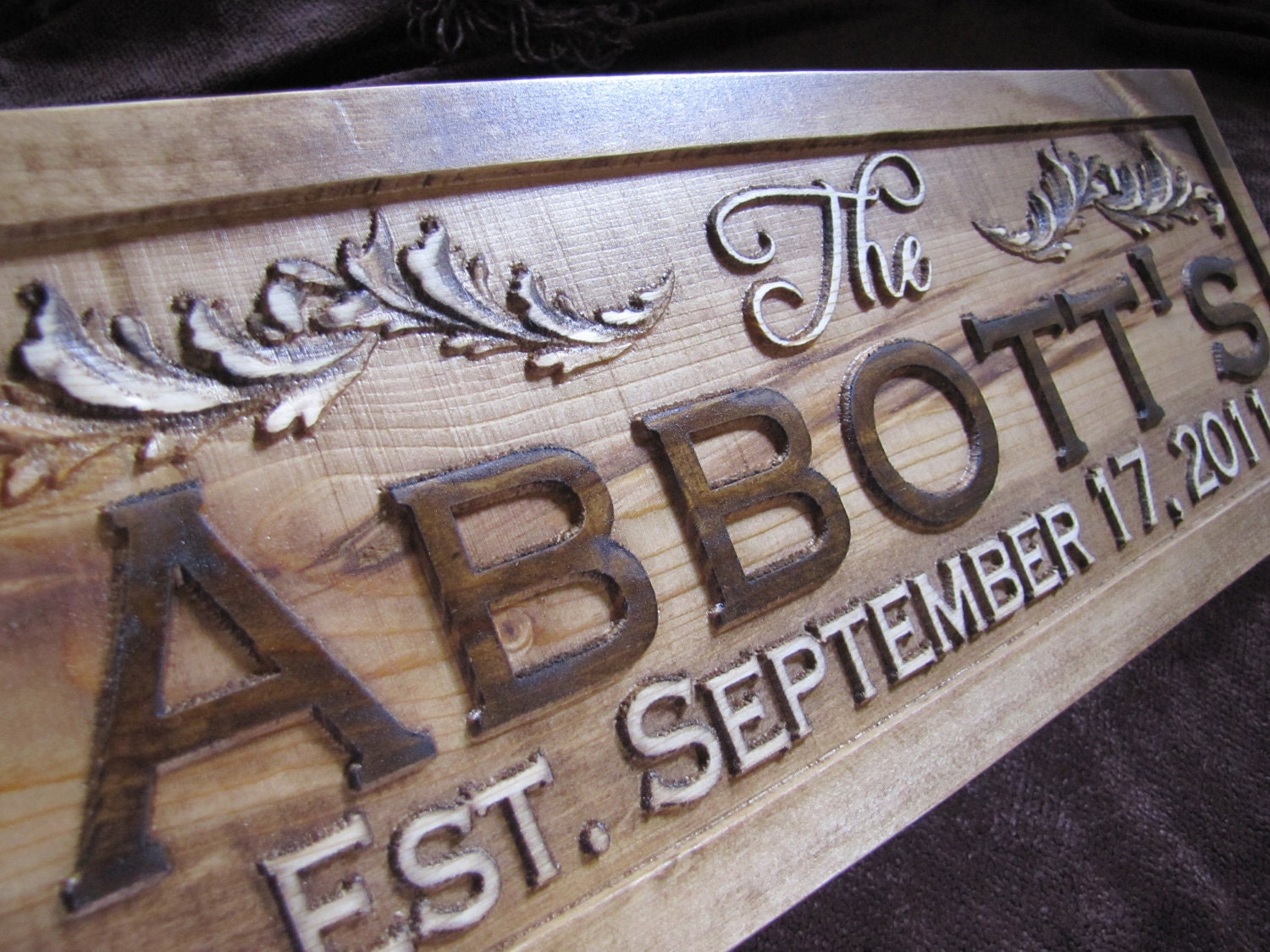 Personalized family name signs carved custom wooden sign last
