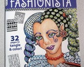 Tangled Fashionista - A Zentangle Coloring Book SIGNED