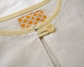 SALE - Cotton tunic with yellow linen details - Size S