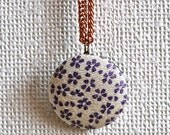 Japanese fabric button necklace - floral pattern