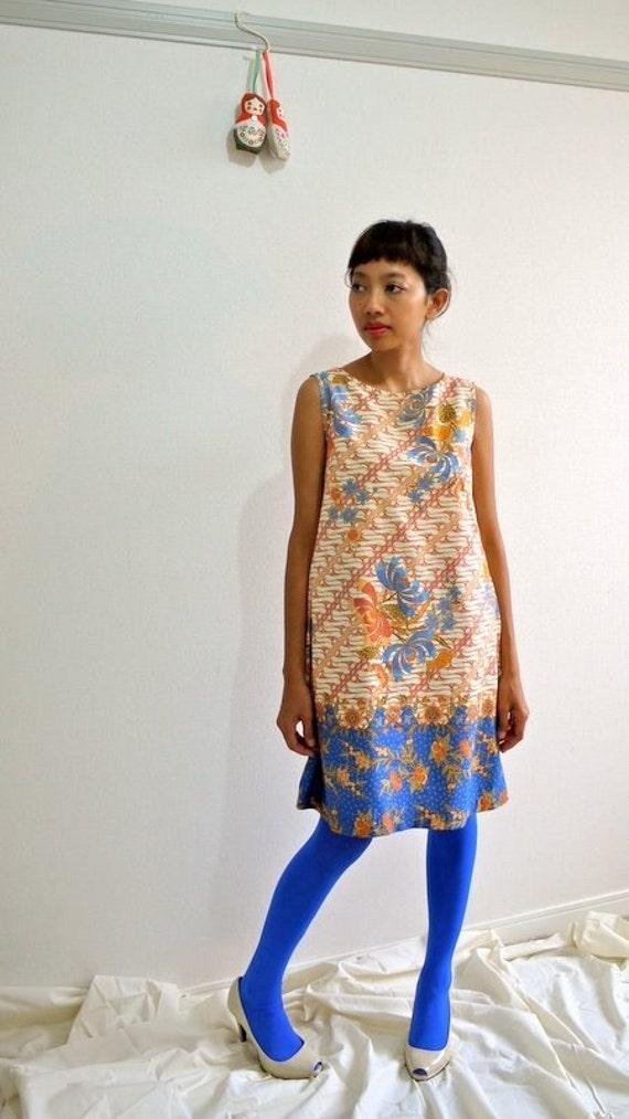 SALE - Bow tie blue orange dress - Size XS