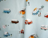 Heather Ross Camper Vans VW Buses Fabric on Blue Fat Quarter - Out of Print