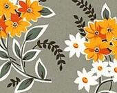 Large Flowers on Grey - Flea Market Fancy Fabric Denyse Schmidt - Out of Print