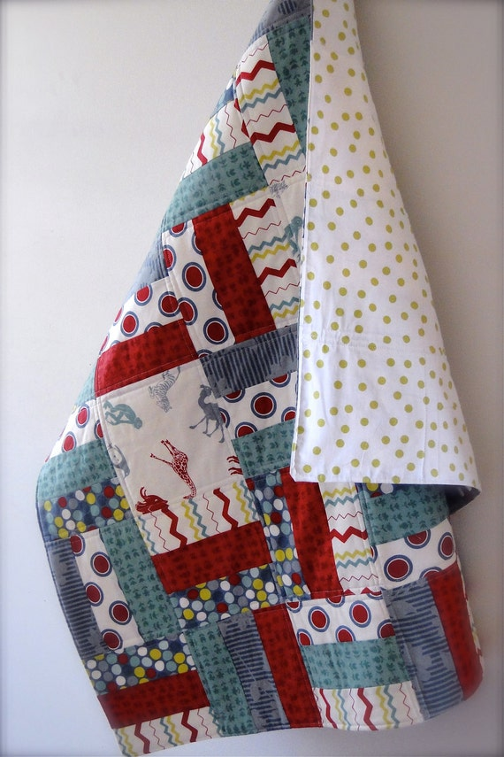 Handmade Boys Cot / Crib Baby Quilt in Red, Grey, Lime and White with Zoo Animals Print