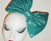 Giant Teal snakeskin animal print PVC latex hair bow