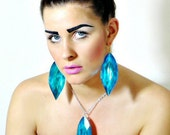 SALE - Turquoise blue oversized crystal shard jewel Chandelier earrings & silver chain necklace set