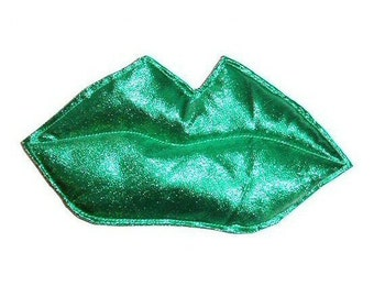 Kiss  - Green metallic foil LIPS fascinator or brooch pin Glamour