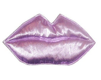 KIss - Lilac pale pink metallic foil LIPS fascinator or brooch pin Glamour