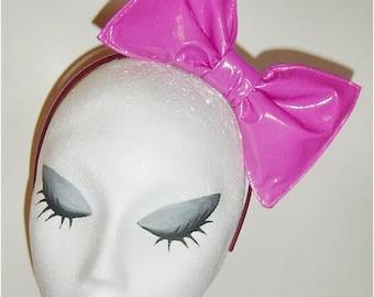 Bubblegum pink PVC latex high gloss shiney hair bow headband or clip