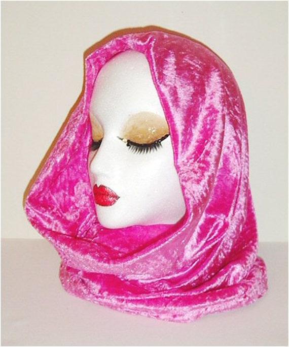Lush Bubblegum pink velvet silky soft snood hood / scarf