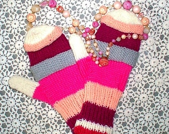 Mittens Rose Fuchsia Pink Burgundy Striped Hand Knit Women Ladies Teens