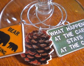 6 Colorful Northwoods Cabin Wine Charms Great Christmas gift stocking stuffer for that northwoods Cabin fan Fast Shipping