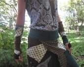 SALE - S T A R Z and S P O T S - Pixie Patchwork Wrap Skirt Eco Upcycle