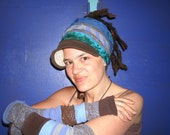 L E T T I N G  yOuR L O V E ShoW - Tall Tribal Periwinkle Alley Cat Arm Warmers Eco Upcycle