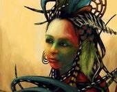 Blue F E A T H E R - Intuitive Shamanic Goddess Fine Art Print Digital Painting