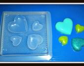 Flexible Plastic Handmade Resin Mold- 4-Hearts Desire
