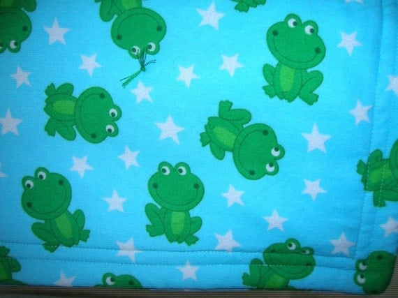 Frogs in Flannel for Baby Large Size Quilt Blanket
