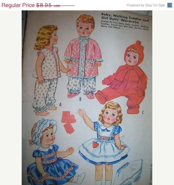 ON SALE- 1960 UNCUT McCalls 2412, Sewing Pattern for Dolls Wardrobe, Tiny Tears, Baby Toodles, Walking Toodles, Sweet Sue Girl Doll, Dydee,