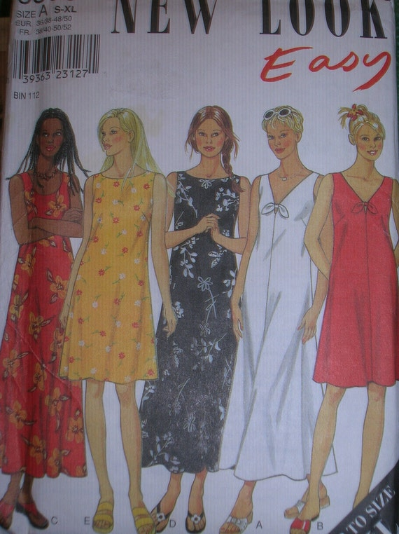 New Look 6866, Misses Dresses with Variations for Neckline and Lengths, sizes 10-24, UNCUT
