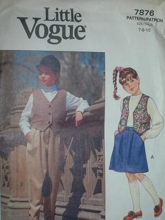 Vintage Little Vogue 7876, girls vest, skirt and jodphurs, size 7-8-10, UNCUT Sewing Pattern