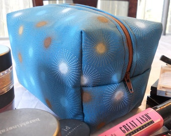 Makeup Bag - Blue Sunburst