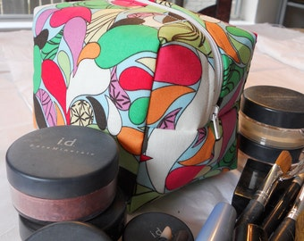 Makeup Bag - Bright Multi-Colored Raindrops
