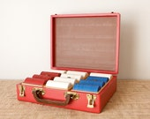 Poker Chips with Red Wooden Case