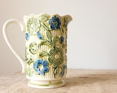 CLEARANCE Vintage Ceramic Pitcher-Green and Blue Floral