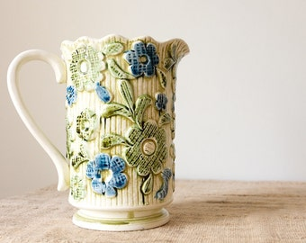 Vintage Ceramic Pitcher-Green and Blue Floral