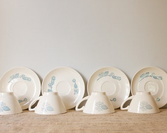 CLEARANCE Vintage Mid Century Cups and Saucers, Marcrest Blue Spruce, Set of 6