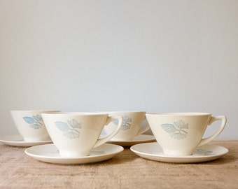 Vintage Mid Century Cups and Saucers-Marcrest Blue Spruce, Set of 6