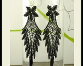 Long Black Lace Earrings