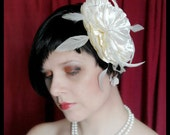 Large Ivory Flower Bridal Fascinator with Feathers
