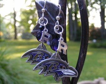 Sterling, Swarovski & Peweter NFL Baltimore Ravens Charm Earrings