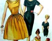 Vintage Simplicity 4209 Pattern - One Piece Dress with 2 Skirts & Draped Necklines - Bust 34
