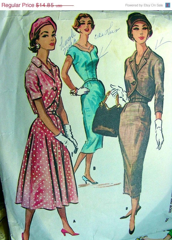ON SALE Vintage 50's McCall's Dress Pattern 3991 -  Dress with Slim or Full Skirt & Jacket - size 12/32