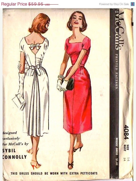 ON SALE RARE -  Vintage 1950s McCall's Pattern 4084 - Sybil Connolly designer - Cocktail Dress - size 14 Bust 34